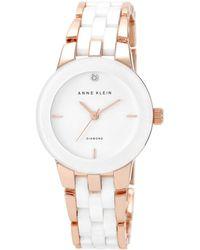 Anne Klein - Ladies' Diamond Dial Rose Gold-tone And White Ceramic Bracelet Watch Ak/n1610wtrg - Lyst