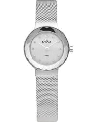 Skagen - Ladies Silver Faceted Bezel Watch 456sss - Lyst