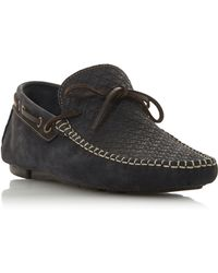 Bertie - Navy 'barbican1' Leather Woven Driver Loafer - Lyst