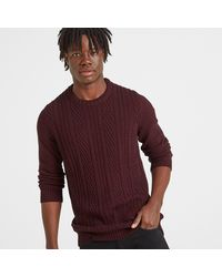 Tog 24 Deep Port Marl Murray Cable Knit Jumper - Multicolour