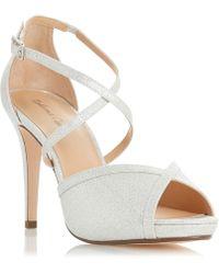 Roland Cartier - Silver 'minnie' High Stiletto Heel Peep Toe Sandals - Lyst
