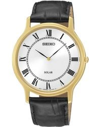 Seiko - Men's Solar Leather Strap Watch Sup878p1 - Lyst