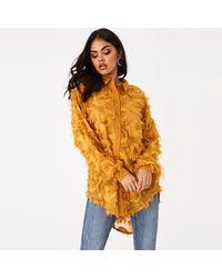 Girls On Film Mustard Tulum Textured Fringe Longline Shirt - Orange
