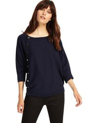 Phase Eight - Navy Natka Button Knit Top - Lyst