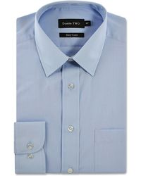Double Two - Pale Blue Classic Cotton Blend Easy Care Shirt - Lyst