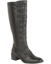 Lotus Black Leather 'spindle' Mid Block Heel Knee High Boots