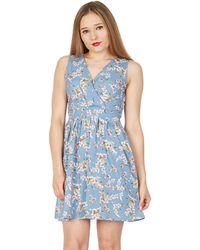 Tenki - Light Blue V-neck Floral Skater Dress - Lyst