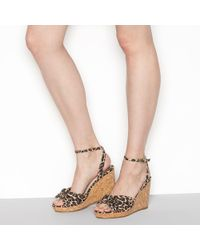 Faith - Tan Leopard Print 'dakota' High Wedge Heel Wide Fit Ankle Strap Sandals - Lyst