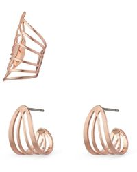 Pilgrim Gold Plated 'Frigg' Earrings And Ear Cuff Set - Metallic