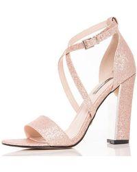 31e34bbb6656 New Look Wide Fit Gold Glitter Cross Strap Block Heels in Metallic ...