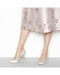 Début - Ivory Satin 'demelza' Mid Stiletto Heel Wide Fit Court Shoes - Lyst