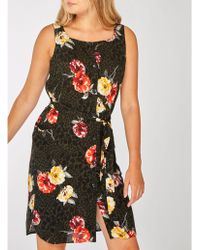 0f41a8fc6a7 Dorothy Perkins Dp Curve Red Floral Print Bardot Shift Dress in Red ...