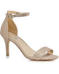Début Glittered High Stiletto Heel Ankle Strap Sandals - Metallic