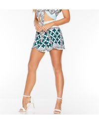 Quiz White Aqua And Green Aztec Overlay Shorts - Blue