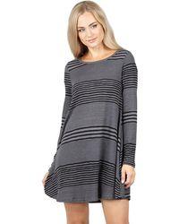 Izabel London - Black Striped Swing Dress - Lyst