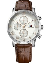 Tommy Hilfiger - Gents Brown Leather Strap Watch 1791400 - Lyst