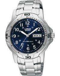 Lorus Men's Silver Geometric Bezel Bracelet Watch Rxn51bx7 - Metallic