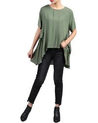 Jolie Moi Side Ruched Comfy Blouse - Green
