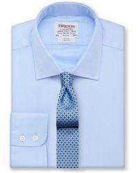 Tm Lewin - White Twill Slim Fit Button Cuff Regular Sleeve Length Shirt - Lyst