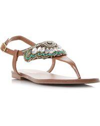 Dune - Tan 'leia' Bead And Diamante Detail Toe Post Flat Sandals - Lyst