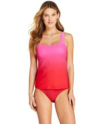 Lands' End - Pink Dd-cup Beach Living Print Squareneck Tankini Top - Lyst