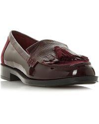 Dune - Maroon Leather 'greatly' Block Heel Loafers - Lyst