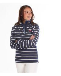 Raging Bull Navy Yarn Dyed Stripe Quarter Zip Top - Blue