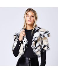 9017721d1c6 Animal Print Short Sleeves Faux Fur Throw Over Jacket - White