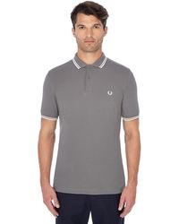 Fred Perry - Grey Embroidered Logo Polo Shirt - Lyst