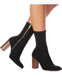 Faith - Black 'bootie' High Block Heel Ankle Boots - Lyst
