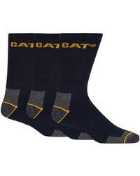 Caterpillar - Pack Of Three Navy Work Socks - Lyst