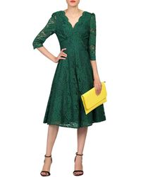 Jolie Moi 3/4 Sleeved Lace Prom Dress - Green