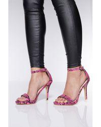 ef0d6e849f2 Quiz Pink Faux Suede Embellished Flatform Mules in Pink - Lyst