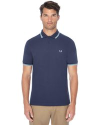 Fred Perry - Dark Blue Embroidered Logo Polo Shirt - Lyst
