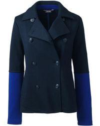 Lands' End Blue Regular Jacquard Jersey Pea Coat