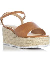 Dune 'kendon' Mid Wedge Heel Ankle Strap Sandals - Brown