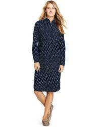Lands' End Print Baby Cord Shirt Dress - Blue