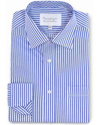 Double Two - Blue Striped Single Cuff Cotton Shirt - Lyst