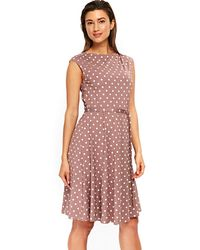 Wallis - Taupe Midi Jersey Fit And Flare Dress - Lyst