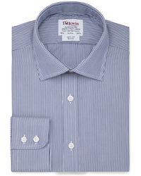 Tm Lewin - Slim Fit Navy Bengal Stripe Long Sleeve Length Shirt - Lyst