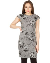 Izabel London - Grey Flower Print Knitted Dress - Lyst