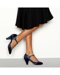 Début Satin 'destiny' T-bar Wide Fit Heeled Shoes - Blue