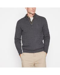 Racing Green Cable Knit Cotton Jumper - Grey