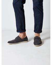 Burton - Grey Leather Look Boat Shoes - Lyst