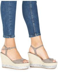 Faith - Grey 'liddy' High Wedge Heel Ankle Strap Sandals - Lyst