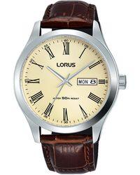 Lorus Men's Brown Analogue Leather Strap Watch Rxn53dx9 - Metallic