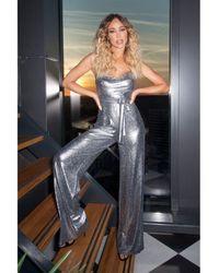 Quiz - Towie Silver Foil Cowl Neck Palazzo Jumpsuit - Lyst