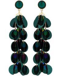 Red Herring - Green Sequin Drop Statement Earrings - Lyst