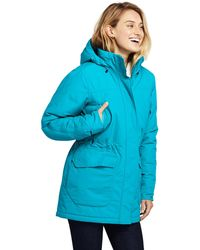 Lands' End Blue Squall Insulated Waterproof Coat