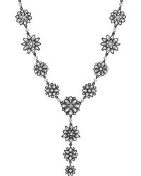 Jenny Packham - Designer Grey Tonal Floral Y Necklace - Lyst